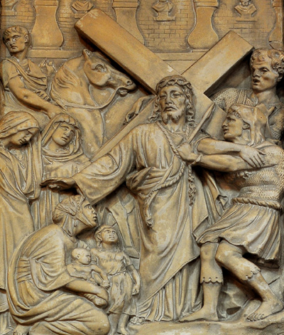 Jésus consoel les filles de Jérusalem. Anonyme.