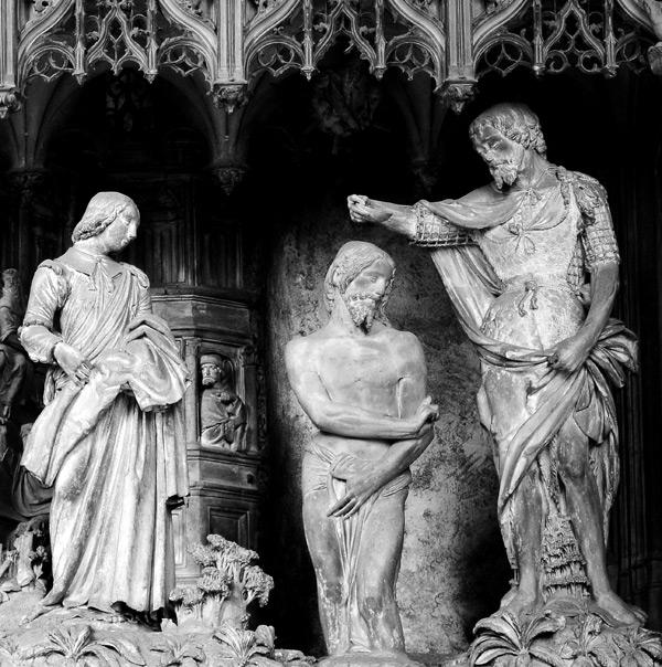 Le baptême du Christ par Jean Baptiste. Nicolas Guybert.