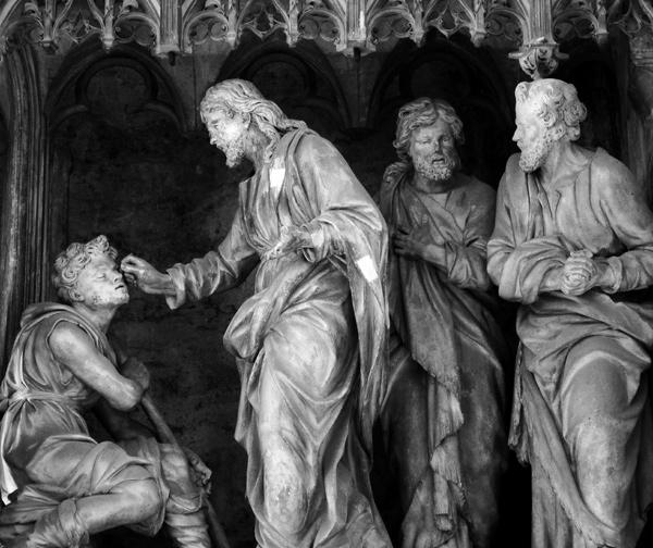 La guérison de l'aveugle né. Pierre 1er Legros.