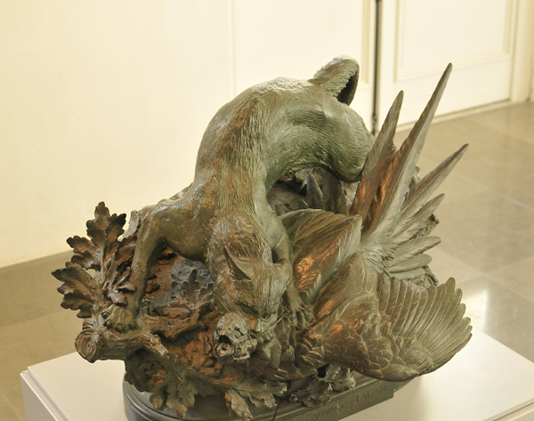 Chat sauvage et faisan. Antonin Aigon