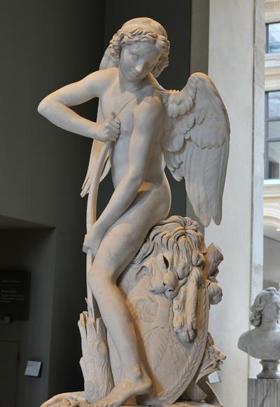 Amour se faisant un arc de la massue d'Hercule. Edma Bouchardon.