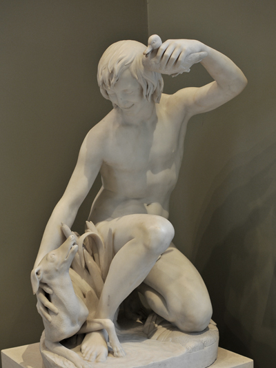 Jeune Baigneur jouant avec son chien. Antoine Laurent Dantan.