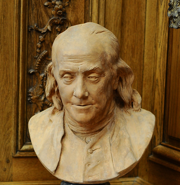 Benjamin Franklin. Jean Antoine Houdon.