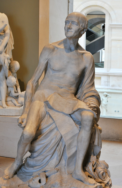 Voltaire nu. Jean Baptiste Pigalle.